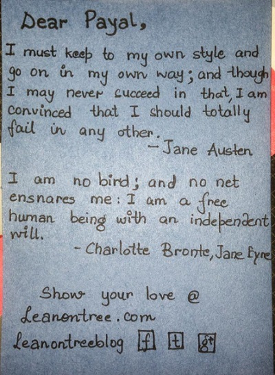 Leanontreeblog used Jane Austen's and Charlotte Bronte's famous quotes to invite reader.